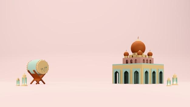 Islamski 3d renderuje arabski motyw tła z bębnem meczetu i arabską lampą