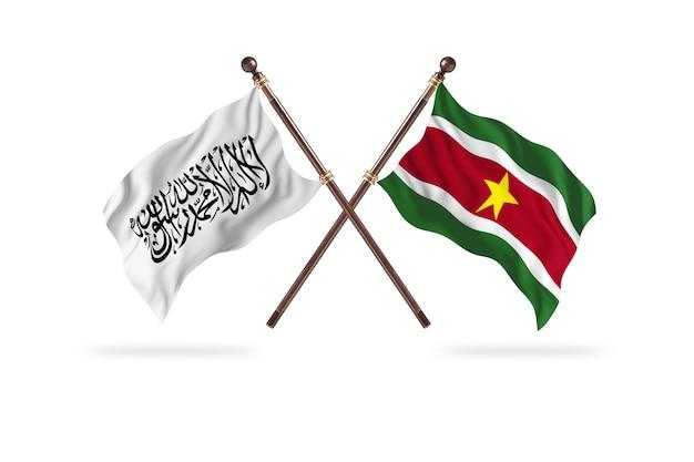 Islamski emirat afganistanu kontra surinam w tle dwóch flag