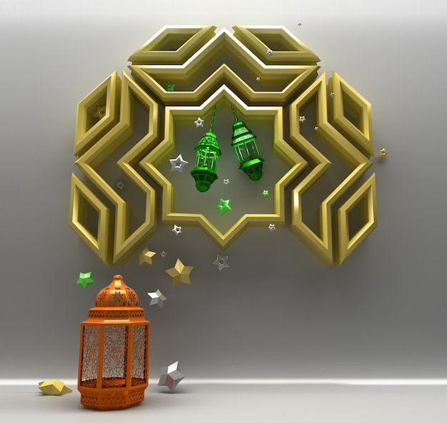 Islamski pozdrowienie tło z latarnią i arabskim geometrycznym wzorem