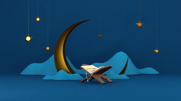 Islamski render 3d arabski eid mubarak muzułmańskie wakacje tematu tła z górami księżyca alquran