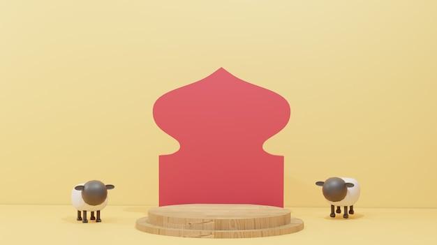 Islamski wzór tła z owcami na ofiarę i drewniane podium odpowiednie dla eid al adha