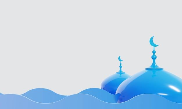 Islamskie tło z niebieską kopułą meczetu