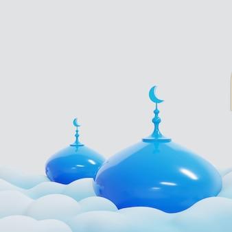Islamskie Tło Z Niebieską Kopułą Meczetu Premium Zdjęcia