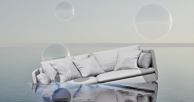 Izolacja powodzi białą sofą i przezroczystymi bąbelkami izolacja covid 19
