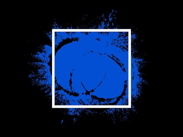 Izolacja transparentu na czarnym tle. biały kwadrat z niebieskim akcentem. zdjęcie wysokiej jakości