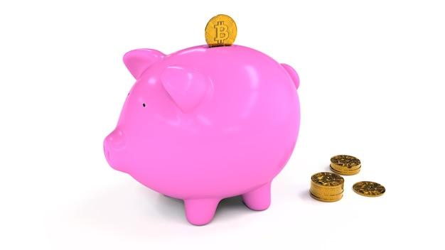 Izolowana figura różowej świnki-skarbonki i złotej monety bitcoin wchodzącej od góry