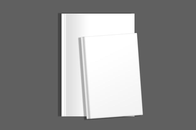 Izolowana kompozycja książki i czasopisma na ciemnej powierzchni