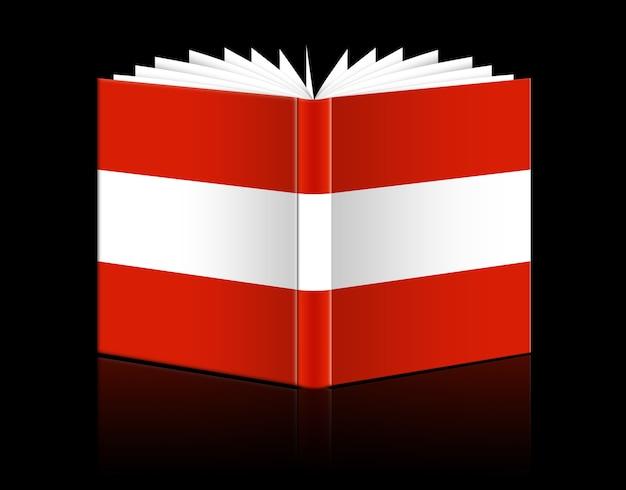 Izolowana otwarta księga przedstawiająca flagę austrii