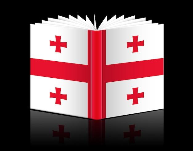 Izolowana otwarta księga przedstawiająca flagę gruzji