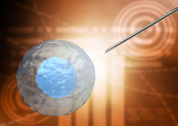 Izolowana terapia komórkami macierzystymi do leczenia chorób ludzkiego ciała. renderowanie 3d