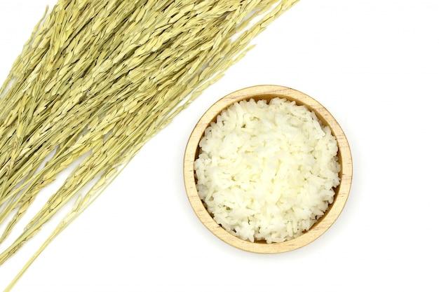Izolowane gotowany ryż jaśminowy w drewnianej misce z kłosem ryżu na białym tle