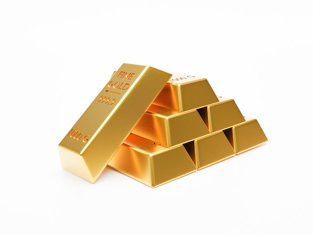 Izolowane sterty sztabki złota lub sztabki złota układania na białym tle techniką renderowania 3d.