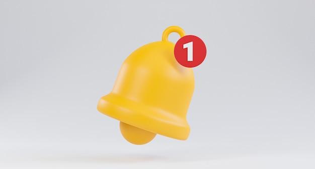 Izolowanie żółtego powiadomienia dzwonka ikona alertu, gdy nowa wiadomość lub nowa wersja vdo na białym tle dla telefonu komórkowego i wiadomości aplikacji za pomocą techniki renderowania 3d.