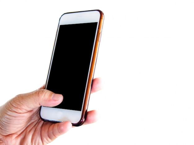 Izolowany telefon komórkowy w ręce kobiety