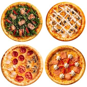 Izolowany zestaw pysznej neapolitańskiej pizzy?