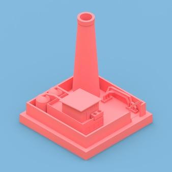 Izometryczna fabryka w minimalistycznym stylu