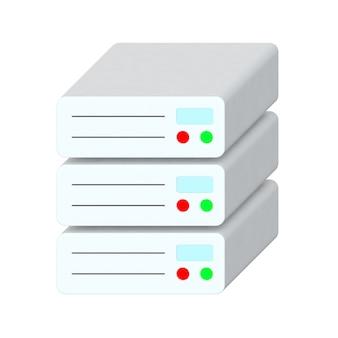 Izometryczne płaskie ikona serwera sieci danych na białym tle. renderowanie 3d