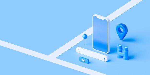 Izometryczny mapy i lokalizacji pinezki lub ikony nawigacji na niebieskim tle z koncepcją wyszukiwania.