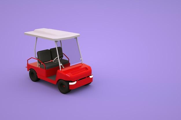 Izometryczny model sportowego samochodu golfowego dla turystów. czerwony samochód golfowy na różowym, fioletowym na białym tle. grafika 3d, zbliżenie