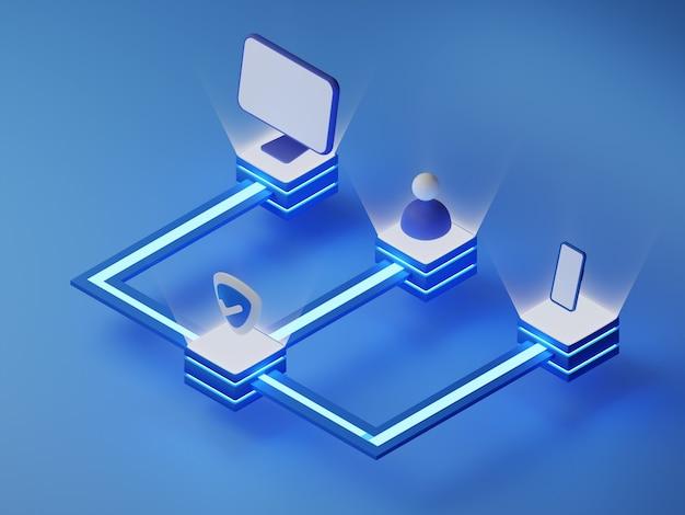 Izometryczny render 3d ochrony danych użytkownika