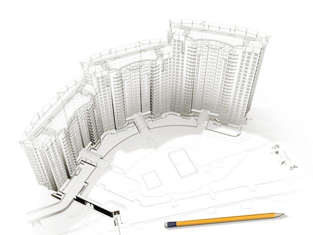 Izometryczny widok 3d zobacz dom mieszkalny na rysunku architekta