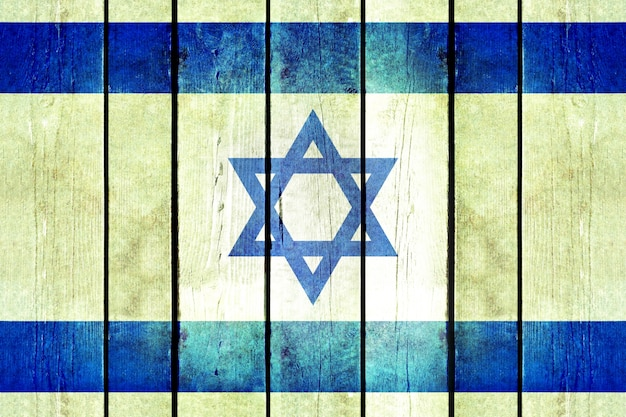 Izrael drewniane flagi grunge.