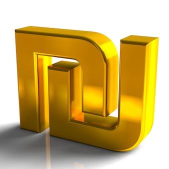 Izrael symbole walut szekla złoty kolor renderowania 3d na białym tle