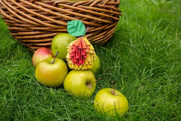 Jabłczany żniwa tło, łozinowy kosz na zielonej trawie