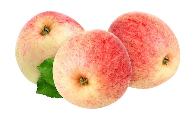 Jabłka ogrodowe na białym tle. całe owoce i liście.