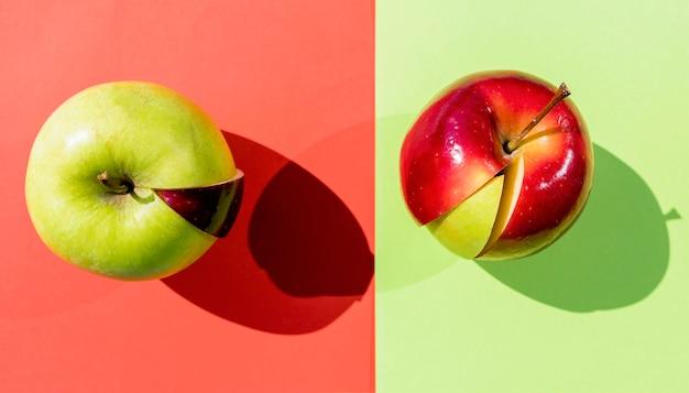Jabłka z różnymi plasterkami