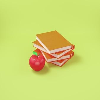 Jabłko z książkami na jasnożółtym tle
