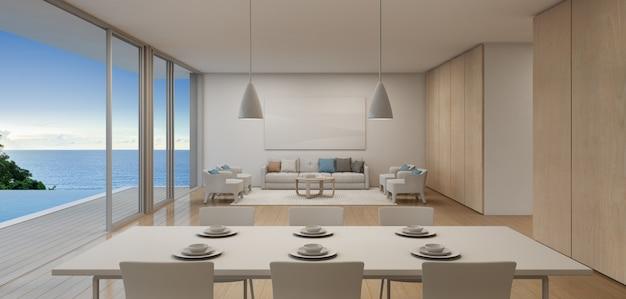 Jadalnia i salon luksusowego domu na plaży z basenem z widokiem na morze w nowoczesnym stylu.