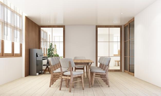 Jadalnia w nowoczesnym, współczesnym stylu z drewnianą ramą okienną i przezroczystą szarością mebli, renderowanie 3d