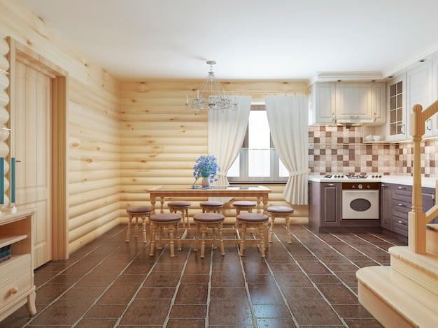 Jadalnia w wnętrzu z bali z brązowymi kafelkami na podłodze i ścianami z jasnego drewna
