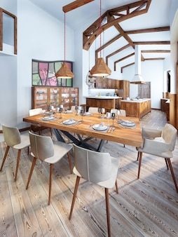 Jadalnia z nowoczesną kuchnią w stylu rustykalnym