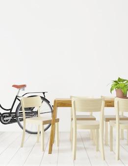 Jadalnia ze stołem, krzesłami i rowerem, rendering 3d