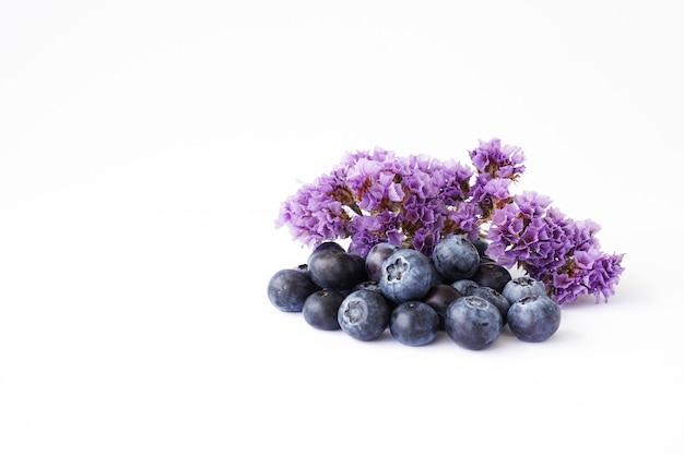 Jagody i fioletowe, suche kwiaty na białym tle