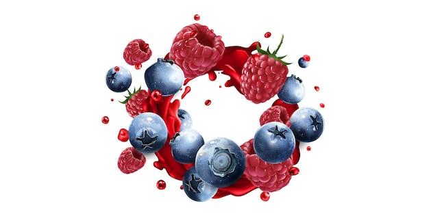 Jagody i maliny w odrobinie czerwonego soku owocowego na białym tle
