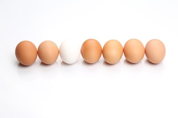 Jaja kurze leżą w rzędzie na białym tle