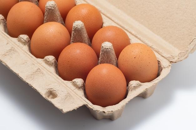 Jaja kurze w otwartym kartonie jaj na białym tle. świeże jaja kurze tło. jajka w pudełku