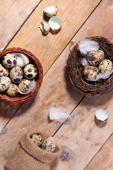 Jaja przepiórcze i pióra w gnieździe, zbliżenie,