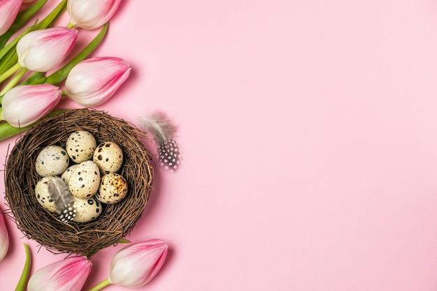 Jaja przepiórcze w gnieździe ptaka z piór i różowe tulipany na pastelowym różowym tle