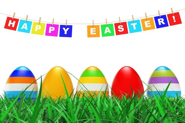 Jaja wielkanocne w trawie pod znakiem wesołych świąt wiszące na liny na białym tle. renderowanie 3d.
