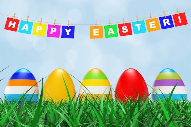 Jaja wielkanocne w trawie pod znakiem wesołych świąt wiszące na liny na niebieskim tle. renderowanie 3d.