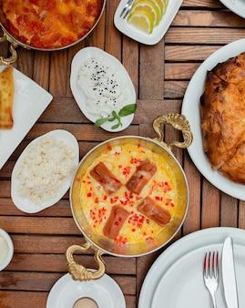 Jajecznica ze smażonymi kiełbasami lub tradycyjne śniadanie