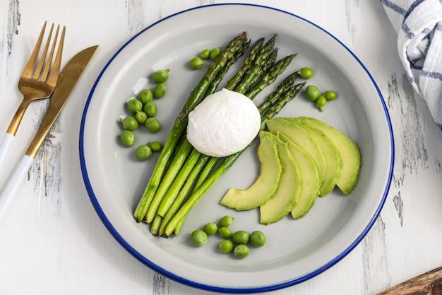 Jajka sadzone ze szparagami, awokado i zielonym groszkiem