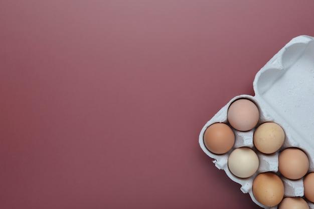 Jajka w kartonowym stojaku na czerwonym tle. koncepcja jaj kurzych. widok z góry. skopiuj miejsce na tekst
