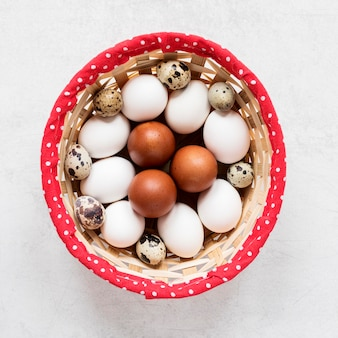 Jajka wielkanocne w koszyku