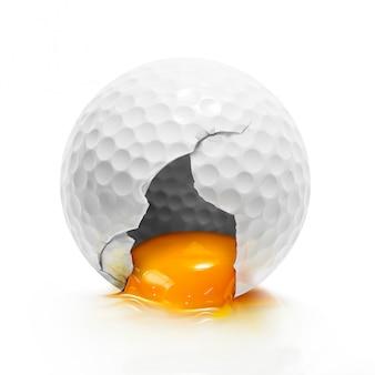 Jajko piłeczki do golfa na białym tle