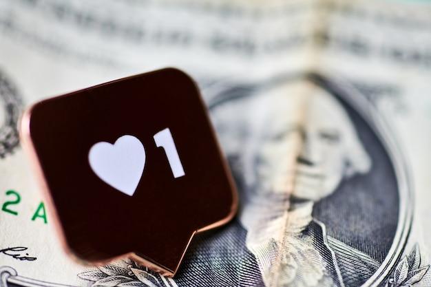 Jak symbol serca na dolara. jak przycisk znaku, symbol z sercem i jedną cyfrą.